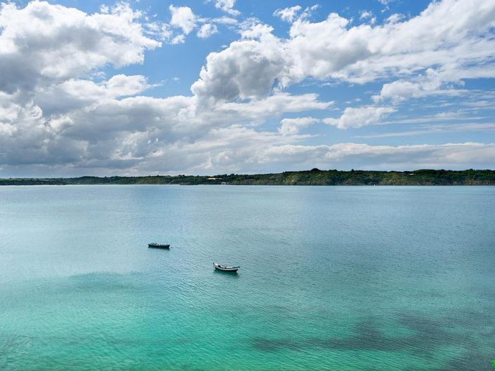 La Baie de la Fresnaye à marée haute : couleur lagon...