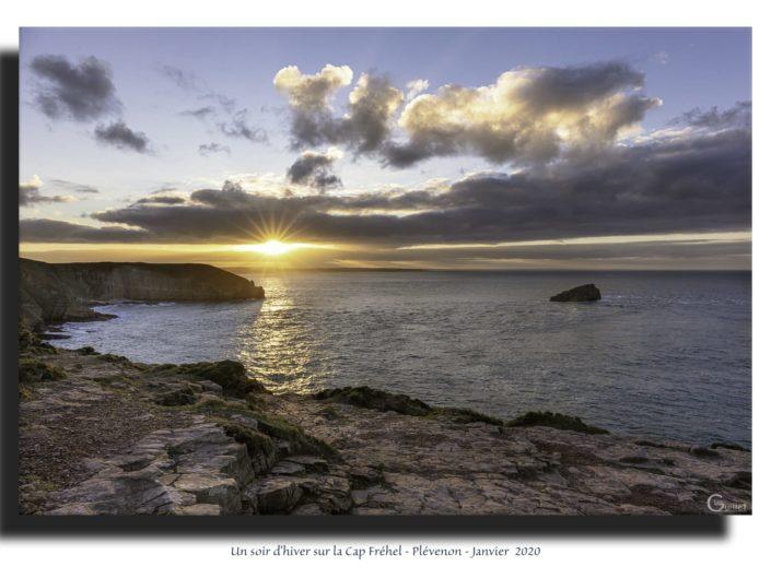 Tableau : coucher de soleil au Cap Fréhel