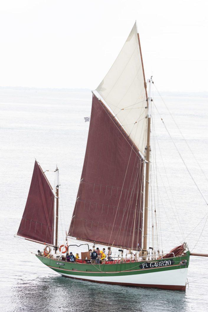découverte des 7 iles - Voiler Sant C'hireg devant l'île aux Moines